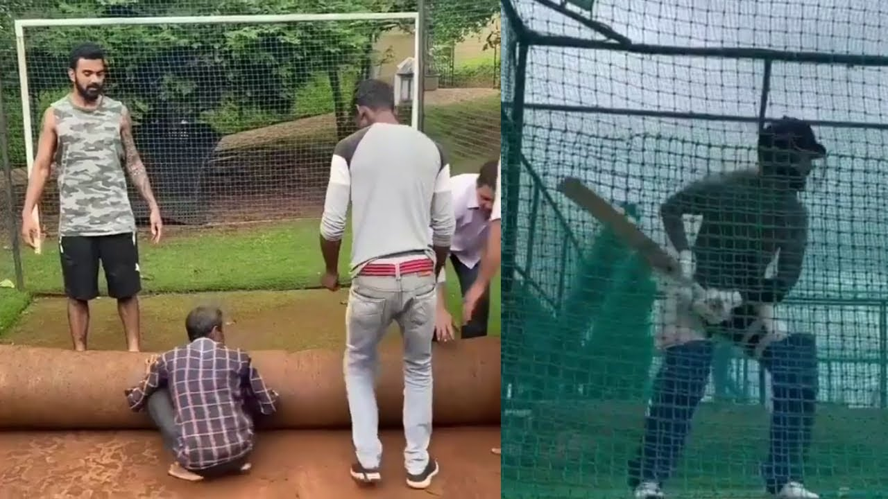 Watch KXIP Captain KL Rahul Started Doing Net Practice in his self Made Pitch ahead of IPL 2020