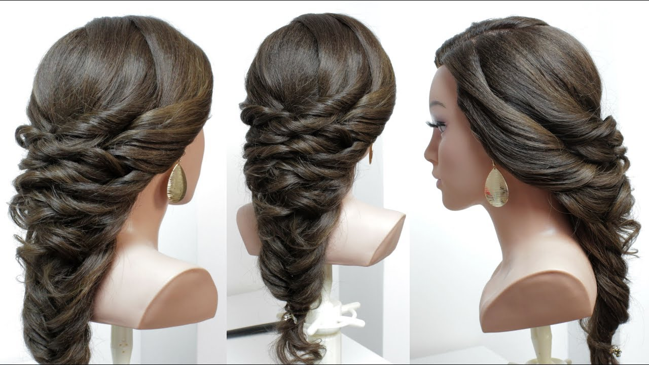 easy bridal prom hairstyle for long hair with fishtail braid. tutorial