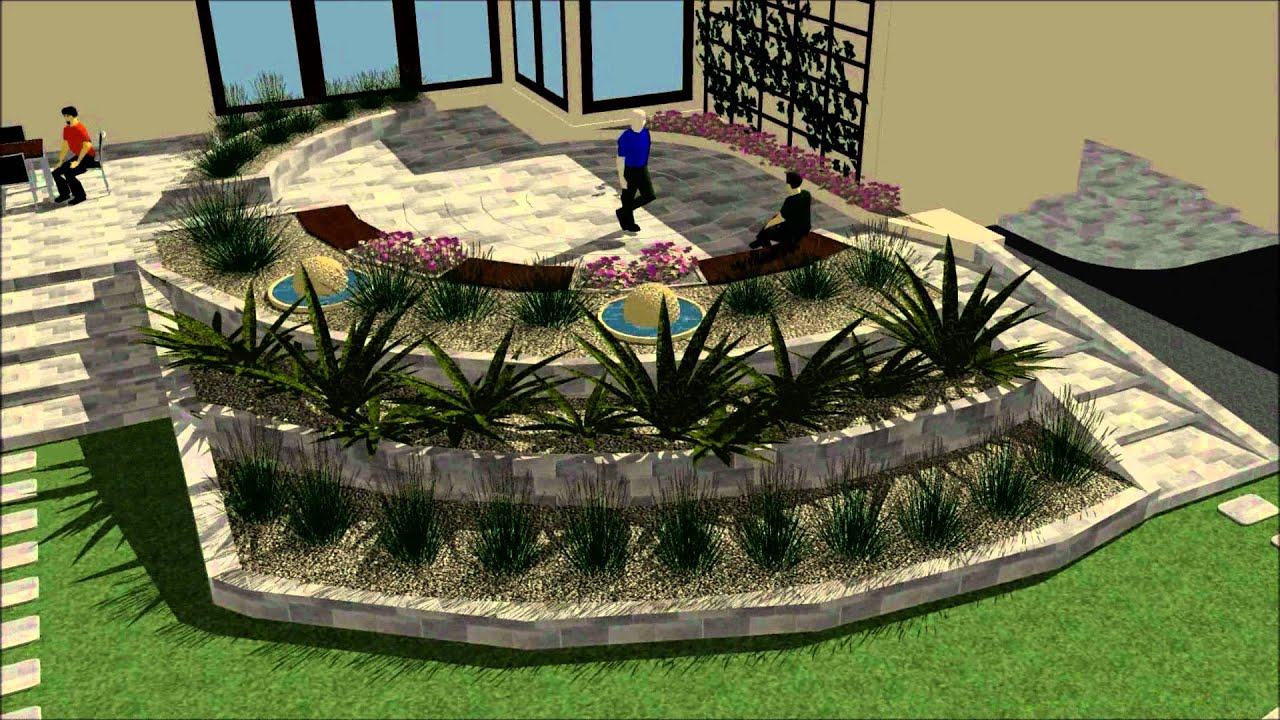virtual walk throught back garden gabion garden design studio