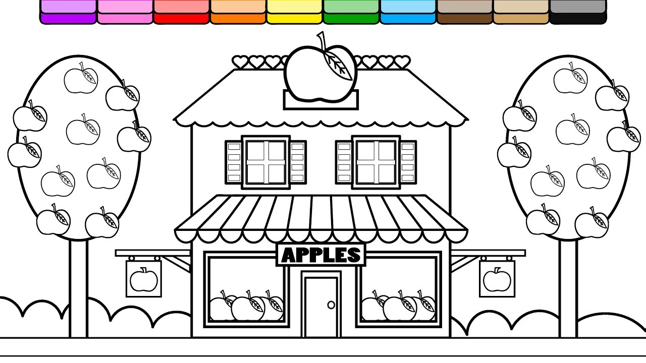 Coloring Apple Store House Coloring Page for Kids to Learn to Color ...