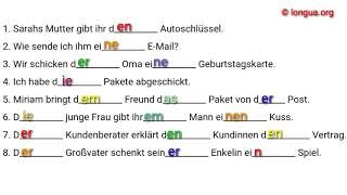 A1, A2, B1 Übungen - Deutsch lernen - Nominativ, Akkusativ, Dativ - Artikel, der, die, das, den, dem