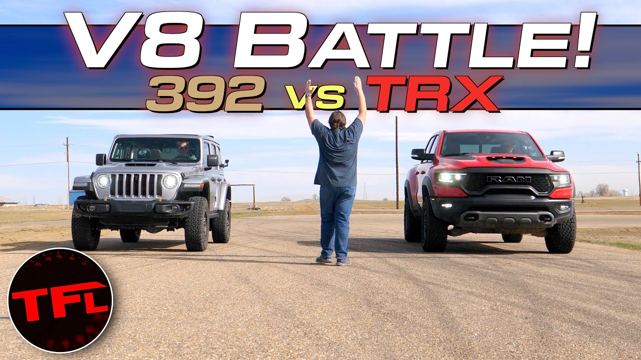 We Drag Race a new Jeep Wrangler 392 vs Ram TRX - It's Closer Than You Think!