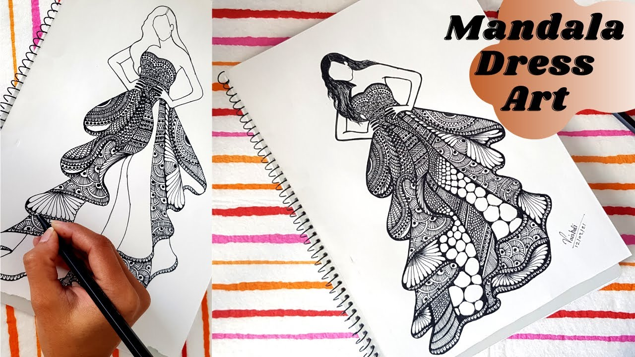 Girl Dress Mandala Art | Mandala/Doodle/Zen art | Fashion illustration