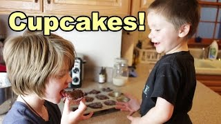 Birthday Cupcakes!  How To Make Gluten Free Vegetarian Chocolate Cupcakes- Day 755 | Actoutgames
