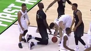Tacko Fall 7'6 Falls On The Ground And Is The Same Height As Defender