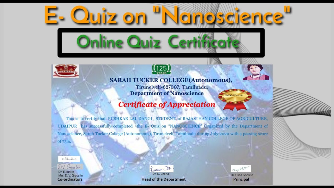 "E- Quiz on ""Nanoscience"" With Certificate  #OnlineQuizCompetitionWithCertificate2020"