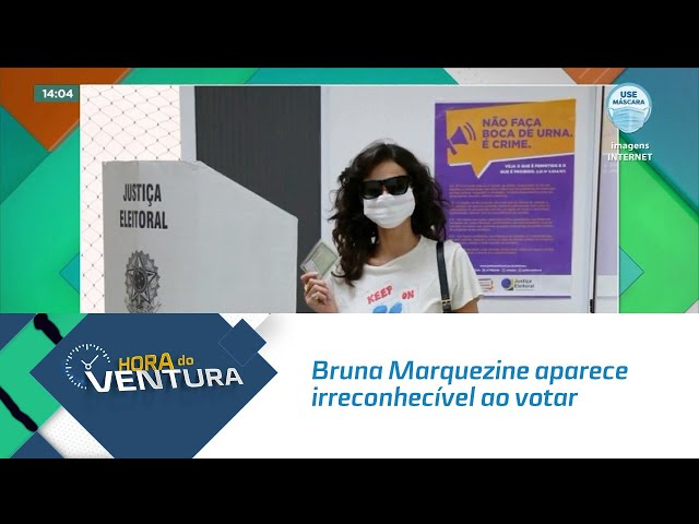 Bruna Marquezine aparece irreconhecível ao votar de máscara e óculos escuros