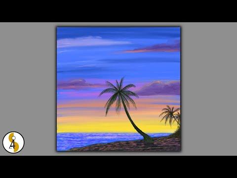 Sunset / Palm tree / Beach Landscape Painting / Relaxing / Procreate Art / iPad Art / Demo #51