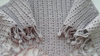 Бактус крючком с пышными столбиками.Crochet neckerchief nice pattern. (Шаль #23)