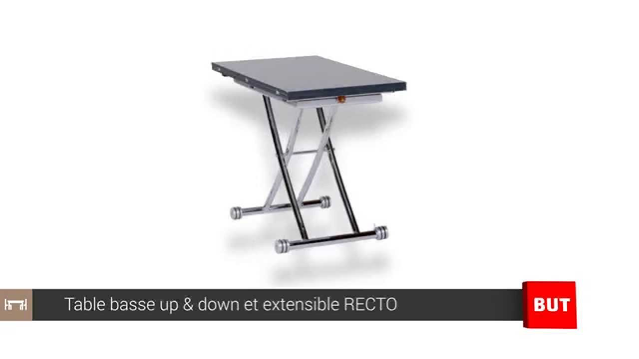 Table basse relevable et extensible grise recto but youtube - Table extensible relevable ...