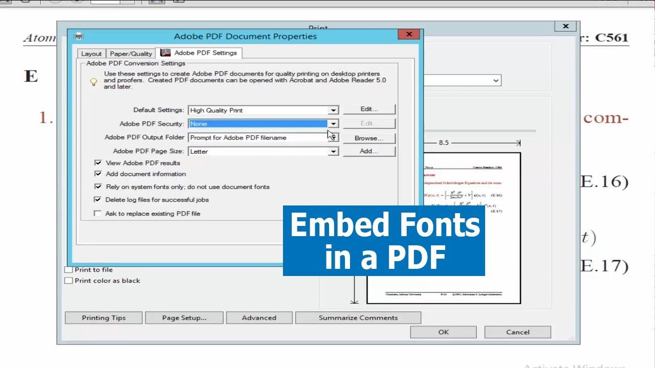 Pdf Tutorial How To Embed Fonts In A Pdf Using Acrobat Pro2017