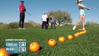 Paige Spiranac & Tony Finau Attempt the Most Golf Balls Caught in 1 Minute World Record    18Birdies