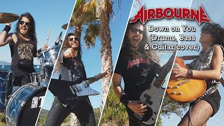 Airbourne - Down on You (Guitar, Bass & Drums cover) ft. @AMYMUSIXX