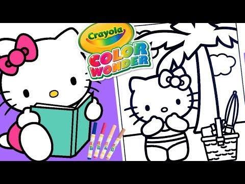 Hello Kitty Coloring book page educational Crayola Mess Free Color Wonder Markers art for kids KOKI