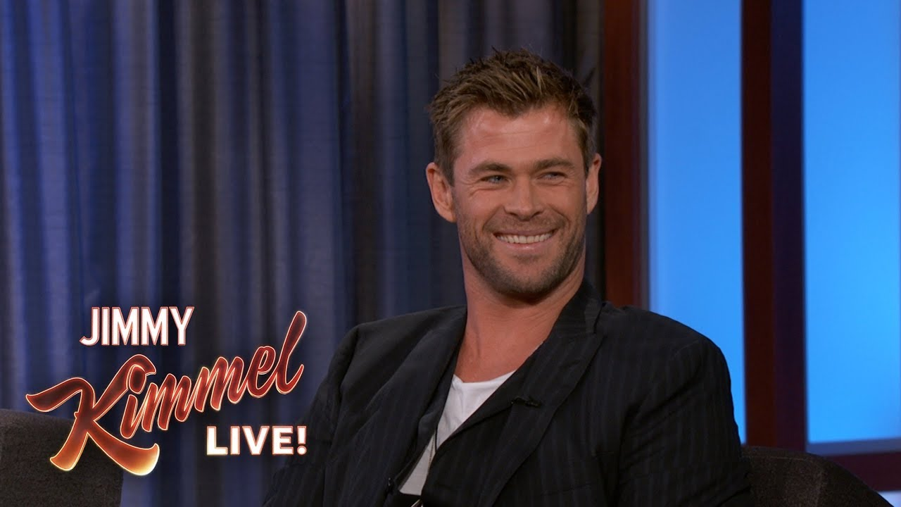 chris hemsworth reveals where he keeps his hammer youtube