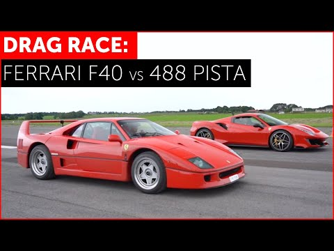 DRAG RACE! Ferrari 488 Pista vs Ferrari F40! REAL WORLD w/ Tiff Needell