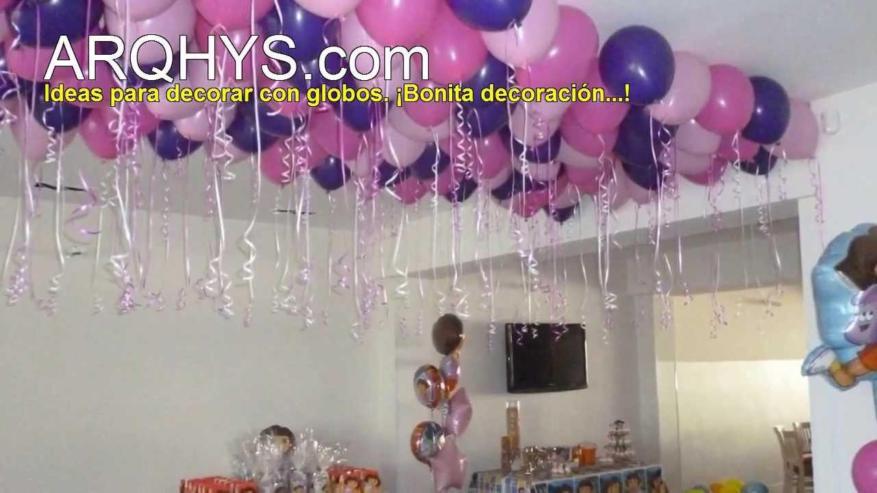 Decoraci n con globos infantiles youtube for Figuras para decorar techos