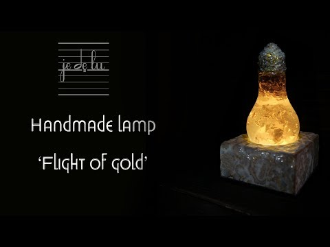 Handmade lamp 'Flight of gold', epoxy resin + polymer clay