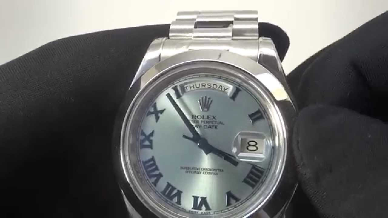 a3737895337 Rolex Day-Date II President Platinum  ICE BLUE DIAL  ref. 218206 - YouTube