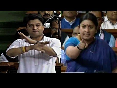 WATCH: Smriti Irani Vs Jyotiraditya Scindia in Parliament