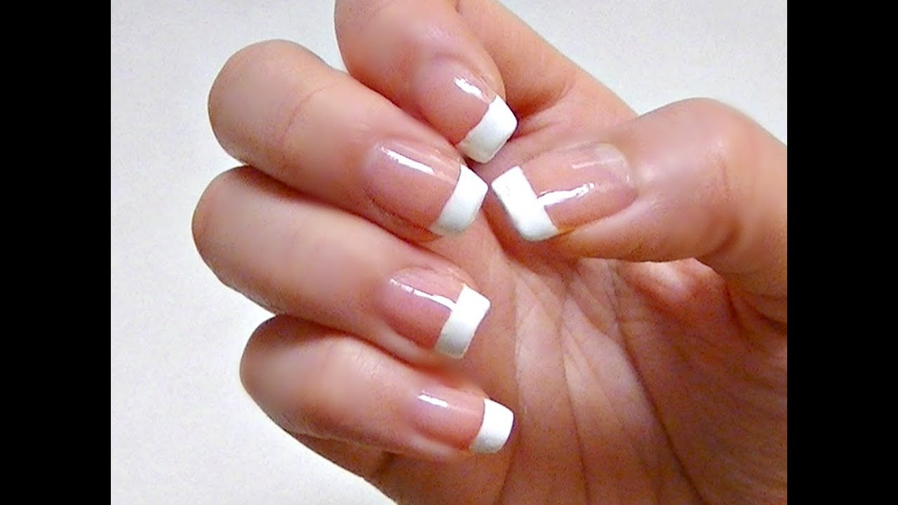 Easy French nail tutorial - YouTube