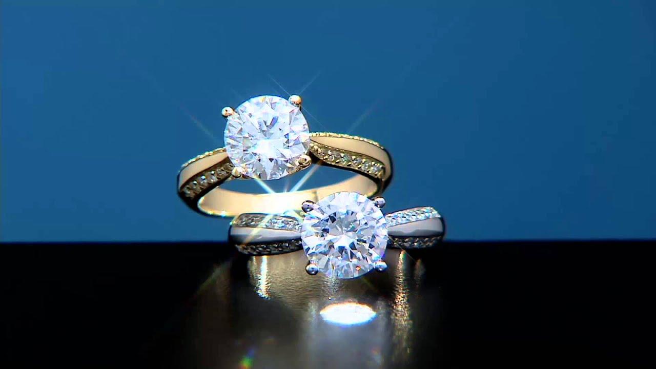 Diamonique Solitaire Ring 14K Gold on QVC