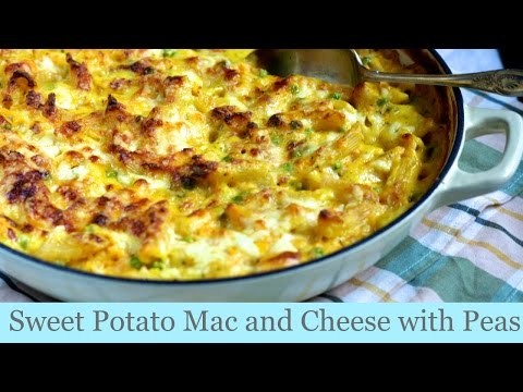 Sweet potato mac and cheese with peas | UK family vlogger
