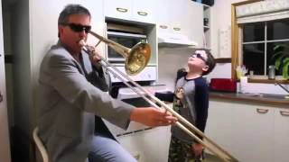 When mum isn't around | HILARIOUS | Father plays trombone and son plays oven