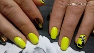 Яркий летний дизайн ногтей. ОТ и ДО. Кот на ногтях.