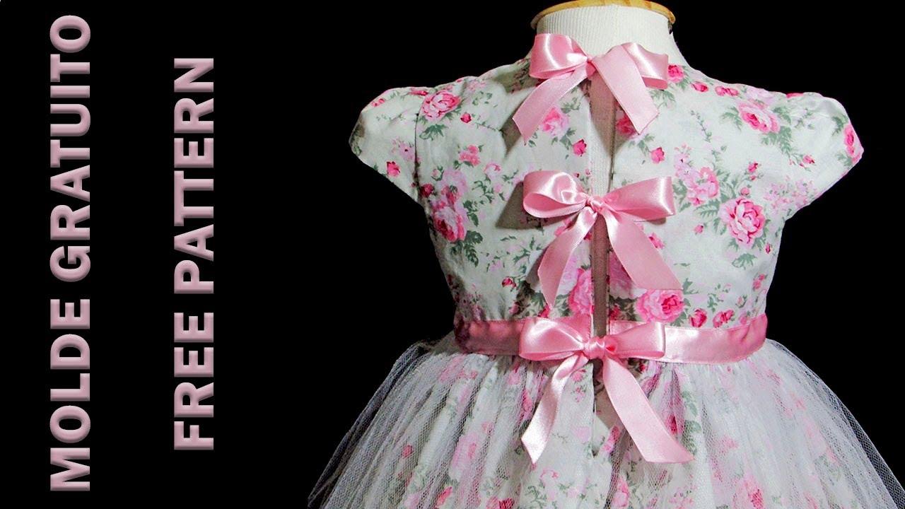 Vestido Com Manga Copinho Molde Gratuito Dona Fada 3 4 E 5