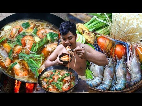 Survival Technique Cooking Tom Yam Shrimp Soup with Coconut water Recipe for Food eating delicious