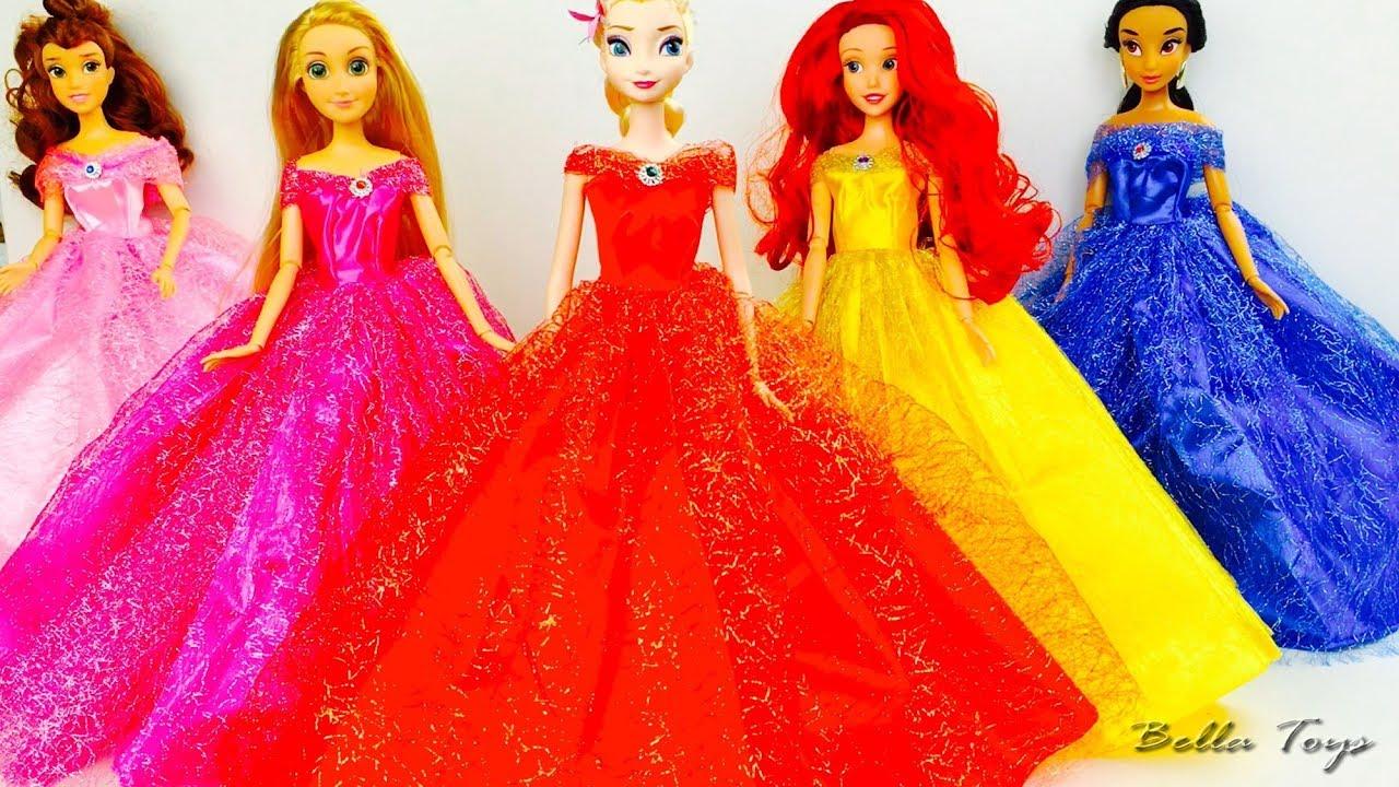Vestidos De Princesas Muñecas Disney Desfile De Modaelsa Rapunzel Ariel Bella Jasmine