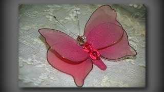 Бабочка своими руками из того что есть дома! Nylon Stocking Butterfly Tutorial. Видео урок!(Бабочка из капрона своими руками, как сделать! Легко и красиво! Nylon Stocking Butterfly Tutorial.В этом видео показан очень..., 2016-02-01T15:27:18.000Z)