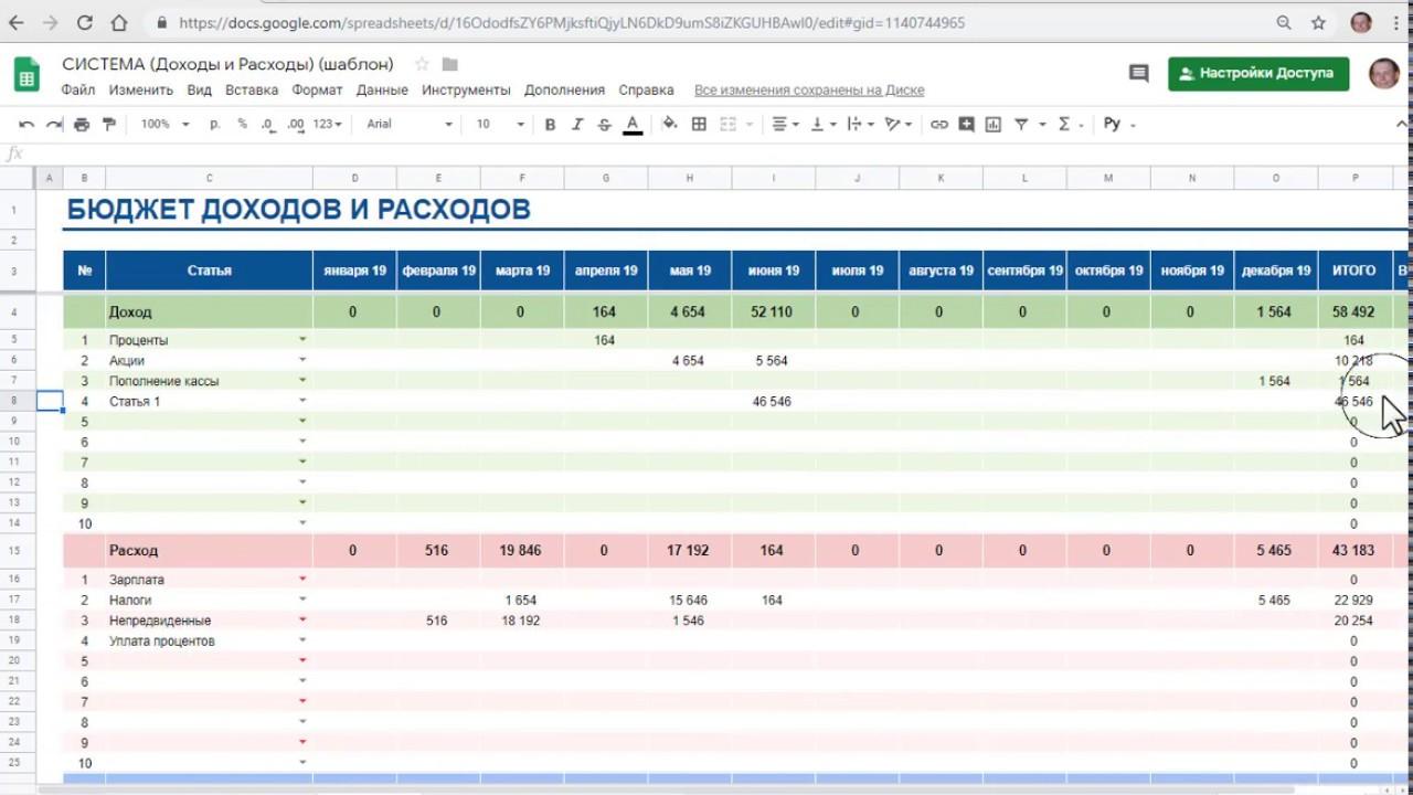Доходы и расходы система учета в гугл таблицах - YouTube