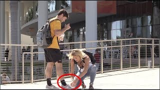 TYING STRANGERS SHOES!