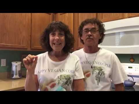 HAPPY VEGAN COUPLE: Chickpea salad on Dr. Greger's Homemade Flax Seed Crackers.