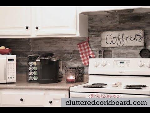 My Farmhouse Kitchen Faux Barn Wood Backsplash - one year later // Cluttered CorkBoard