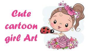 Cute cartoon girl with flower Art || Cute cartoon girl Art || How to draw || Art & Drawing Academy.