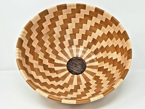 Woodturning a Large Cherry & Maple Spiral Bowl