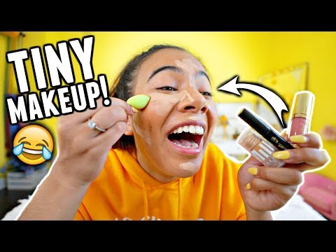TINY MAKEUP CHALLENGE!! Full face of ONLY tiny makeup products.