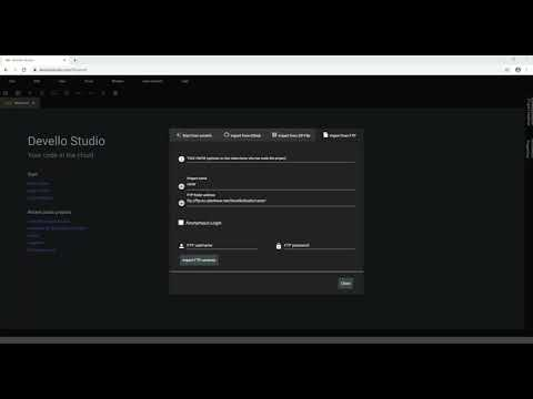 Devello Studio - Import project from ftp