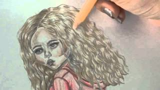 how to draw and color blonde hair tutorial with colored pencils