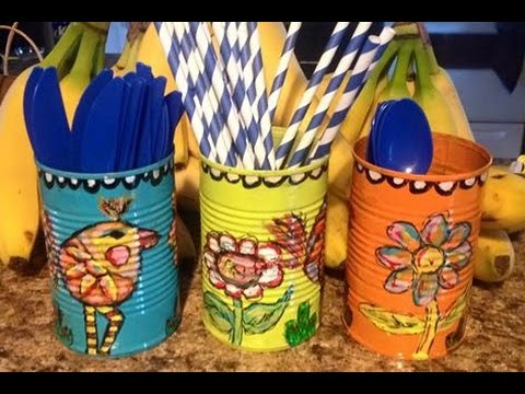 mixed media painted tin cans