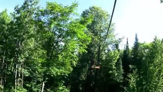 Ontario Tourist Gord zip lining at TreeTop Trekking, Huntsville, Muskoka