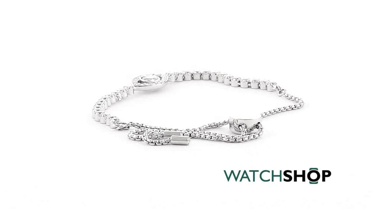 ab13cee24d1 Ladies Swarovski Silver Plated Subtle Evil Eye Slider Bracelet (5368546)