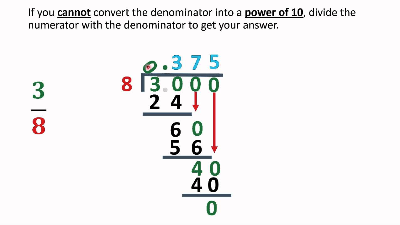 Worksheet How To A Fraction Into A Decimal converting any fraction into a decimal youtube decimal
