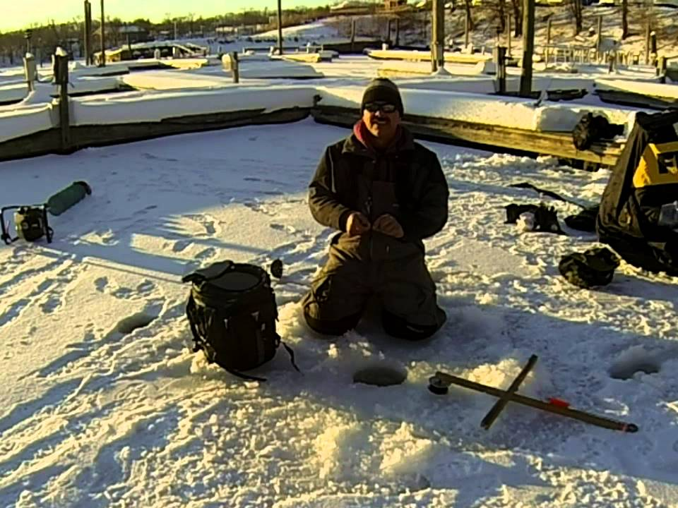 Ice fishing tip up line markers youtube for Ice fishing tip up line