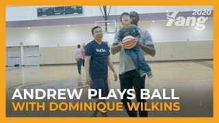 Andrew Yang Plays Ball with NBA All-Star Dominique Wilkins
