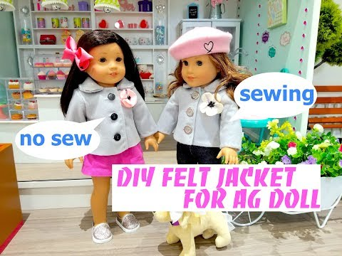 DIY FELT JACKET FOR AG DOLL- SEWING AND NO SEW OPTION