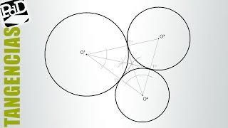 Dibujar tres circunferencias tangentes, conociendo sus centros (Tangencias)